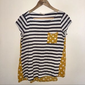 Anthropologie Flowy Shirt Stripe w Mustard Dot Mix
